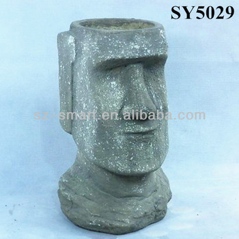 Square Human Face Life Size Garden Statue