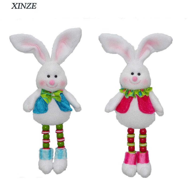 "10"" Wall hanging decoration easter rabbit plush bunny with bead legs"