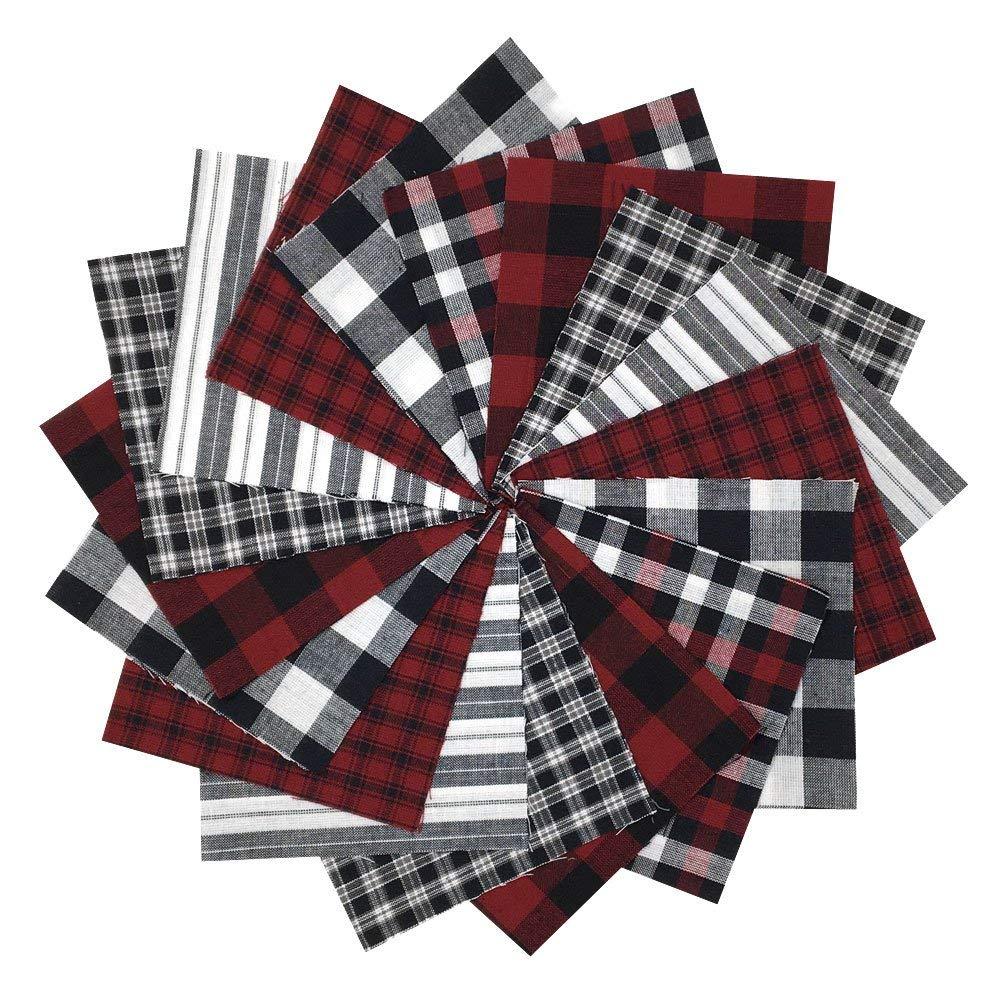5 inch Precut Cotton Homespun Fabric Squares by JCS 40 Rustic Christmas Charm Pack