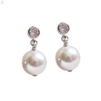 Custom 18K Gold Zircon White S925 Sterling Silver Drop Pearl Earrings