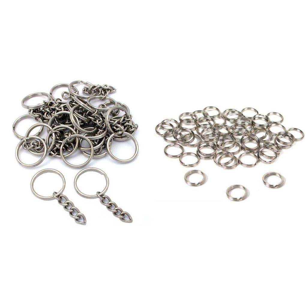 Nickel Plated Key Chain Rings W/Chain & Split Rings Jewelry Connectors 50 Pcs