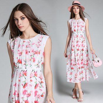 STKKOO Wholesale Pure and Fresh Floral Print Slim Waist Side Split Pleated Long Chiffon Dress