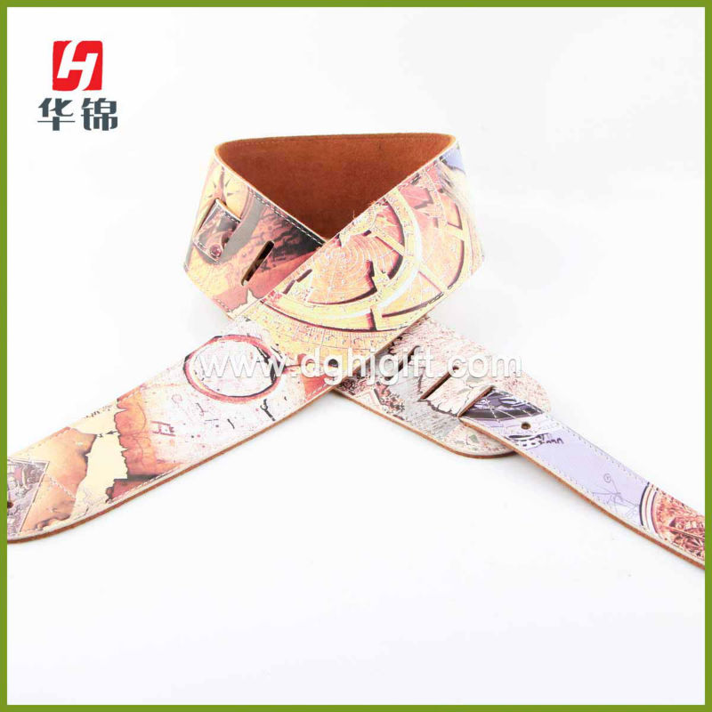 Custom Made Old Map Printing leather Guitar Strap