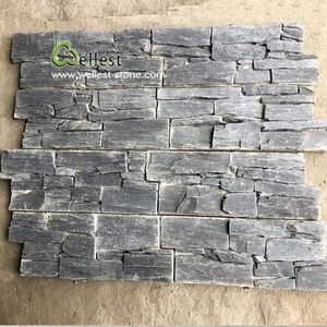 Natural split face slate black culture stone ledge panel for fireplace