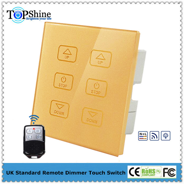 Latest UK type gold crystal glass 6 gang 2 loads remote touch dimming switch for home automation system