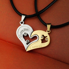 2 Pieces a Set I Love U Stainless Pendants Double Heart Necklace Couple Lovers Crystal Necklaces Fine Jewelry for Men Women