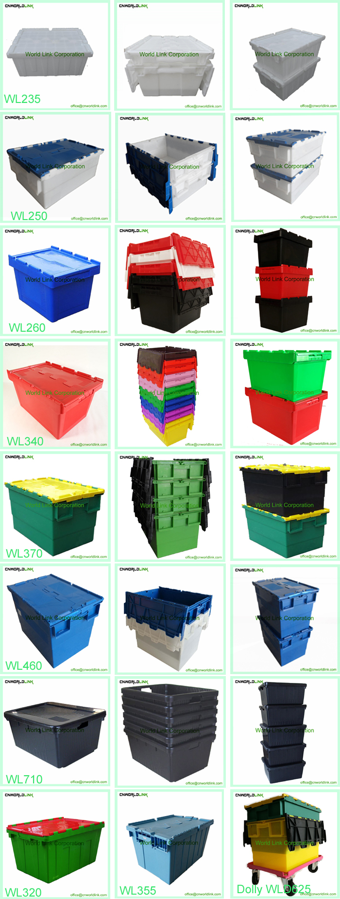 65L Attach Lids Storage Stackable Packaging Plastic Moving Foldable Bin