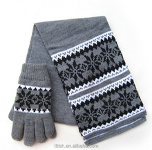 fashion trend warm knit winter scarf and gloves set