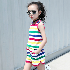 Fashion girl sleeveless stripe t-shirt and elastic shorts 2018 summer korean kids vest top and brief clothing sets