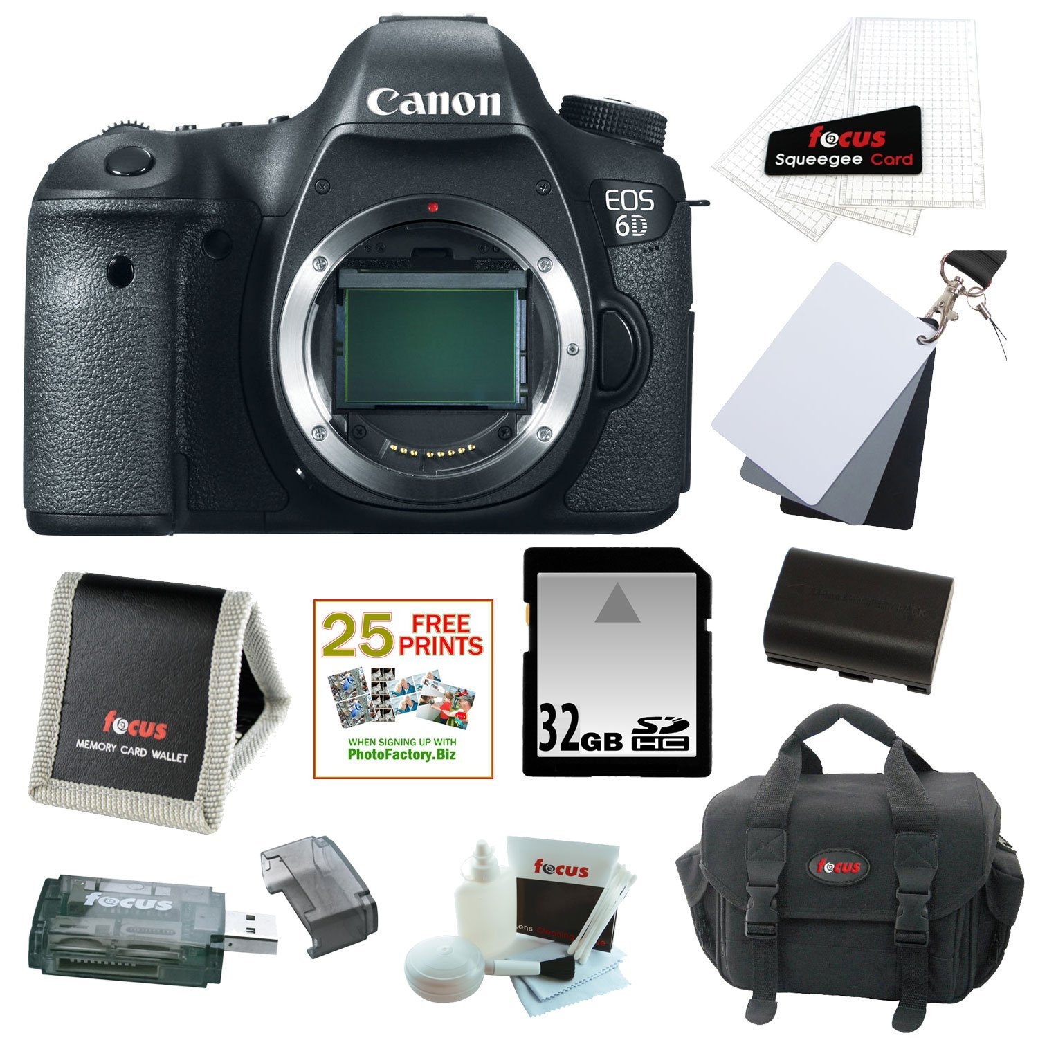 Canon EOS 6D 20.2 MP Full Frame CMOS Sensor Digital SLR Camera (Body Only) with 32GB Deluxe Accessory Bundle