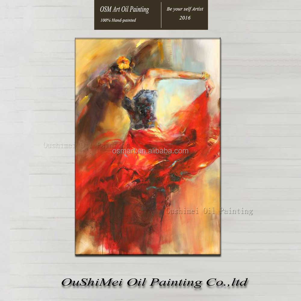 High Skills Artist Pure Handmade Impression Spanish Flamenco Dancer Oil Painting on Canvas Beautiful Wall <strong>Art</strong> for Living Room