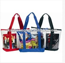 New Clear Zipper Security Tote Bag With Black Trim Great for beach or shopping Tote/ Shop Bag China Made