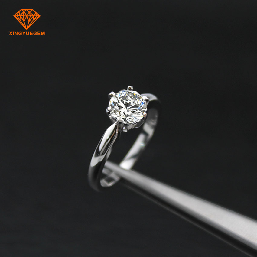 Classical 18K 14k white/yellow gold 6.5mm one carat moissanite wedding rings