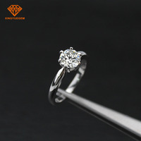 Classical 18K 14k white/yellow gold moissanite 6.5mm one carat solitare rings