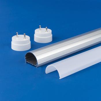 China Manufacture Led Tube Light Housing Lamp Component Aluminum Profile T8 Round Housing Buy Plastic Cover Aluminum Heatsink Led Lamp Shade Product