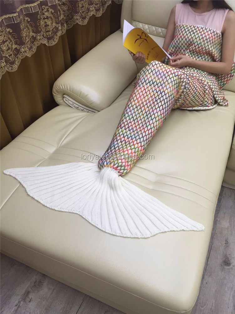 Manufacture Fashion unique Knitted Mermaid Tail Blankets Fishtail Blankets Fishtail Sleeping Throw Blanket