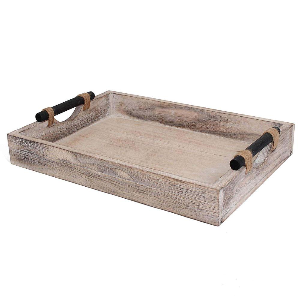 High Quality Rustic Tray Wooden  Serving Tray With Modern Black Metal Handles