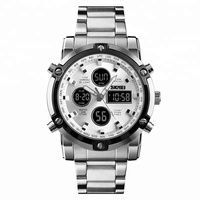 Latest Design skmei 1389 Original Stainless steel Big Face Watches for Men with 3times function