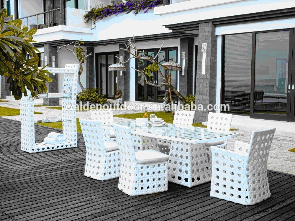 Costco salon de jardin blanc meubles en osier ( DH-9538 )