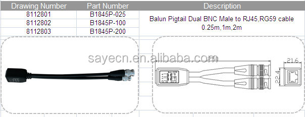 HTB1cqggGVXXXXbhXFXXq6xXFXXXI balun pigtail dual bnc male to rj45,rg59 cable 0 25m,1m,2m balun rj45 to bnc wiring diagram at panicattacktreatment.co