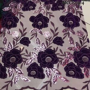 Wholesale african embroidered handcut velvet sequins lace fabrics in purple