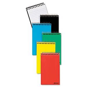 """AMPAD Corporation Products - Memo Notebook, Top Spiral, Ruled Narrow 50 Shts, 3""""x5"""", Ast - Sold as 1 EA - Evidence Memo Book contains 50 white, medium-weight sheets. WireLock binding at top allows easy note-taking. Rigid back protects your notes. Covers come in assorted colors. Wirebound memo book"""