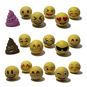 Everything Emoji Pencil Top Erasers   18 Cool Emoticons   Cute School Accessory  Fun Gift   Colorful Cap Set   Amazon