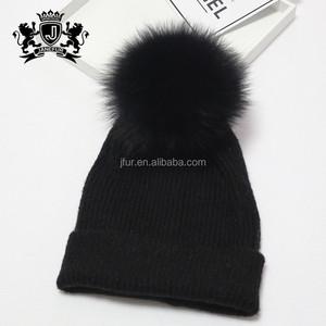 68947b9d05842 Custom size thick winter hat women with racoon fur pom pom