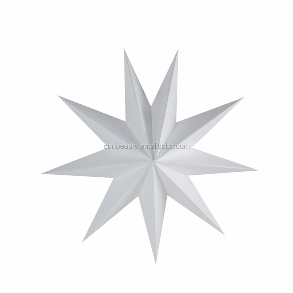 White Nine Pointed Paper Star for New Year Decoration