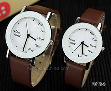 Alibaba market hot sale english letters design leather brand watch factory china