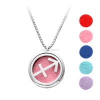 Beneficial Essential Oil Diffuser Necklace Pendant with Zodiac Sagittarius Sign