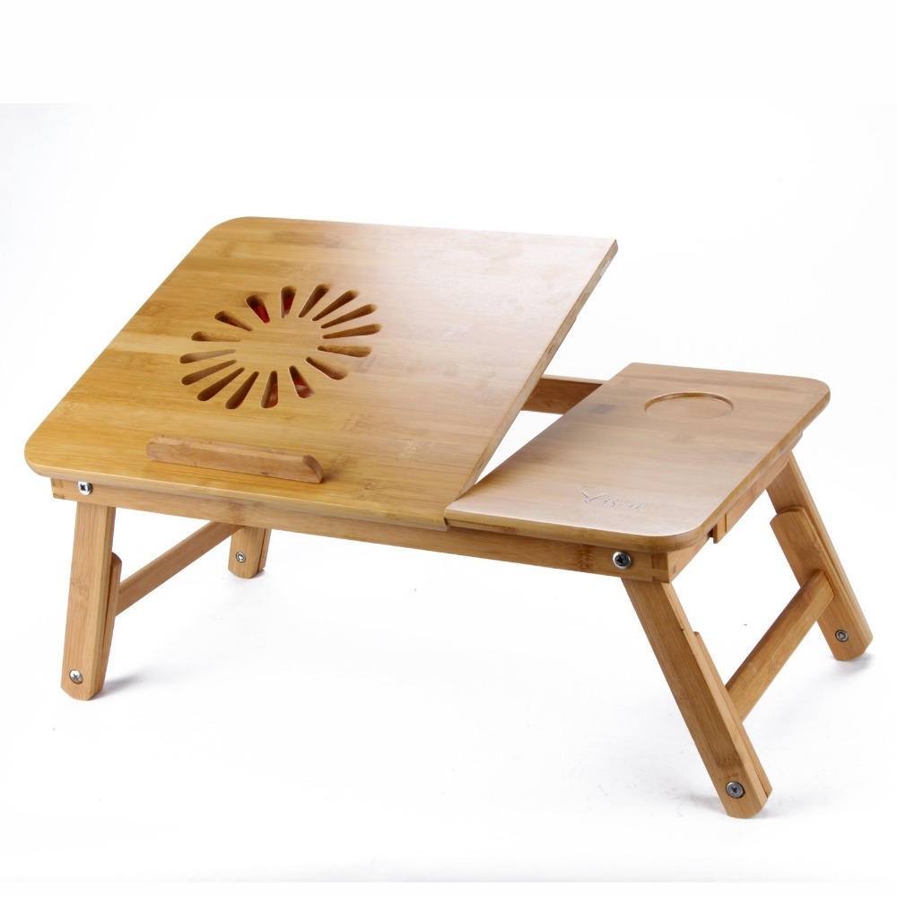Portable folding wood laptop notebook table sand by bamboo for sale