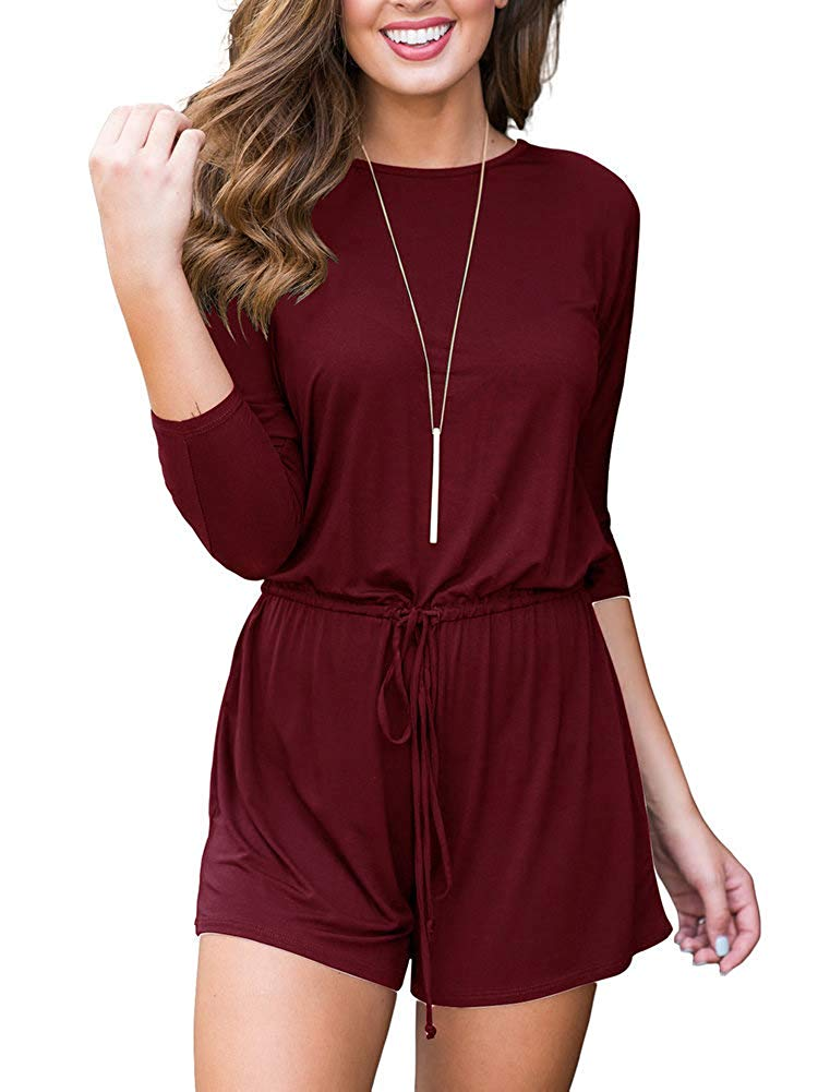 b50fe84309e Get Quotations · INFITTY Women s Casual 3 4 Sleeve Short Romper Waist  Drawstring Jumpsuits Playsuit