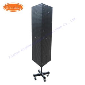360 degree black powder coating product rotating pegboard triangle display stand for accessories on wheels