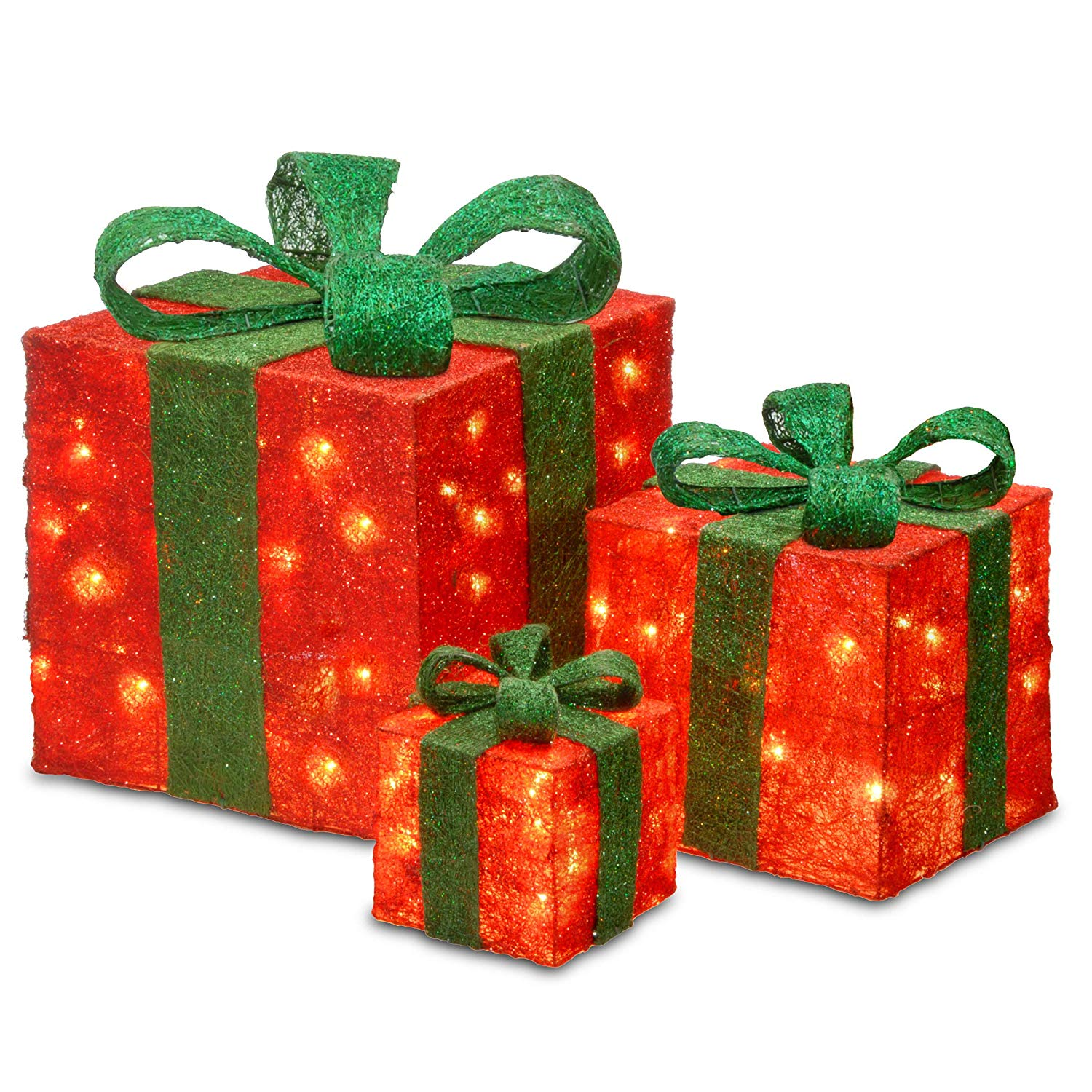 """Prugist Let It Snow Collection 6"""", 10"""" & 14"""" Assorted Red Sisal Gift Boxes 20, 20 35 Clear Lights"""