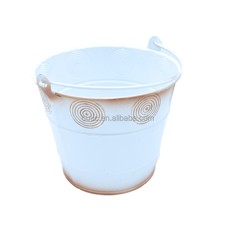 7B451 Galvanized metal bucket white embossed cast iron zinc flower pot with handle