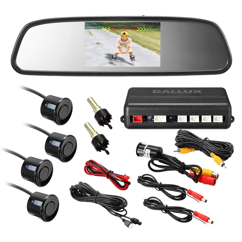 Rearview Mirror Monitor Video Parking Sensor Kit,car Reverse Backup Radar,Black Sensor with 4.3 Inch Rearview Mirror Monitor Backup Reverse HD Night Vision Camera Parking Sensor kit
