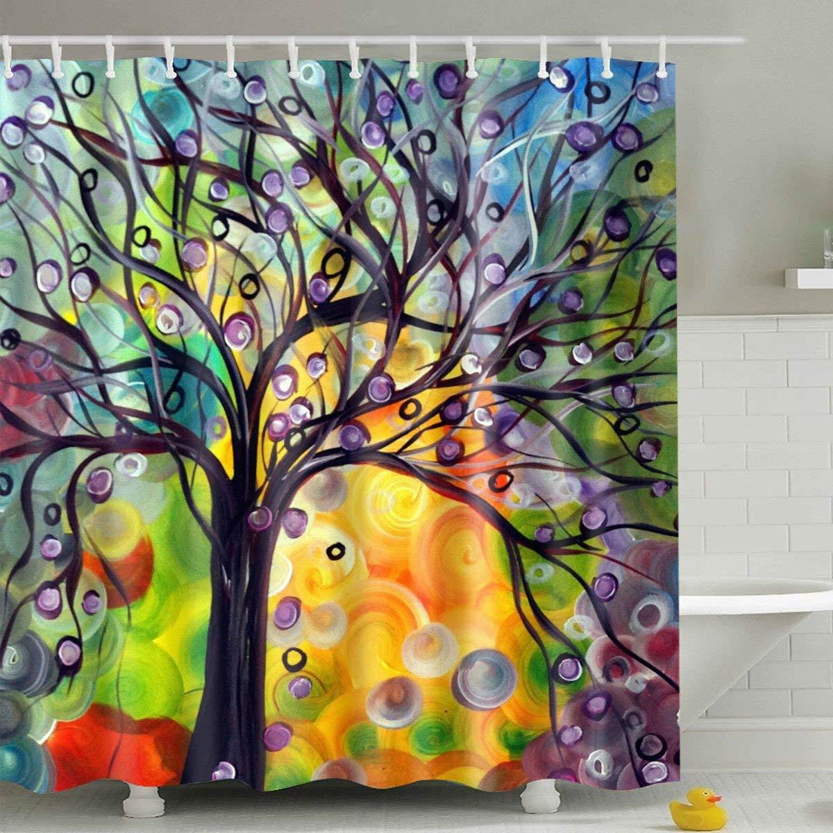 Buy Broshan Blue White Tree Forest Shower Curtain Winter