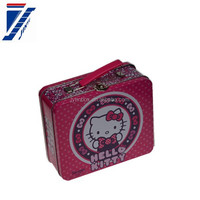 Metal tin box window OEM storage box handle tin can