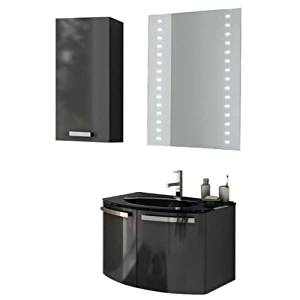 """Nameeks CD24 ACF 27-3/5"""" Wall Mounted Vanity Set with Wood Cabinet, Glass Top wi, Glossy Anthracite"""