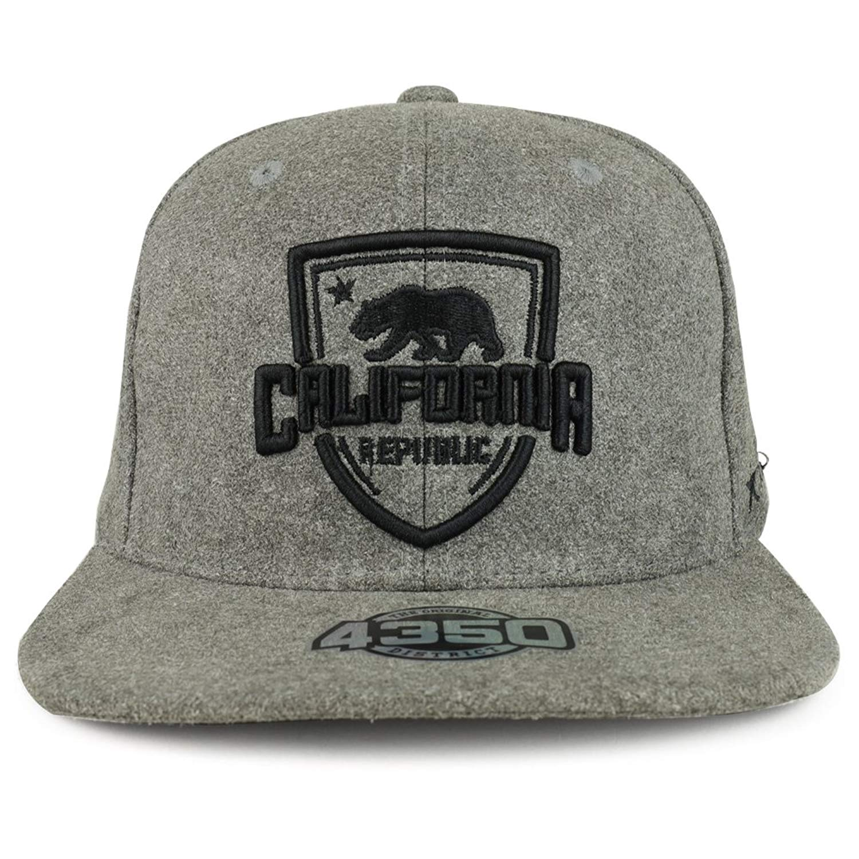 6019bde5fd9 Get Quotations · Trendy Apparel Shop California Republic Shield 3D  Embroidered Suede Flat Bill Snapback Hat