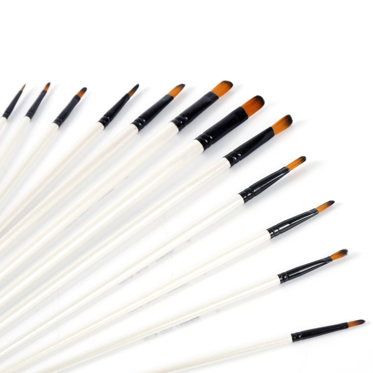 12 pcs Multi-Function Acrylic Paint Brush with Black Anodised Aluminium For Beginners & Fine Art Painters
