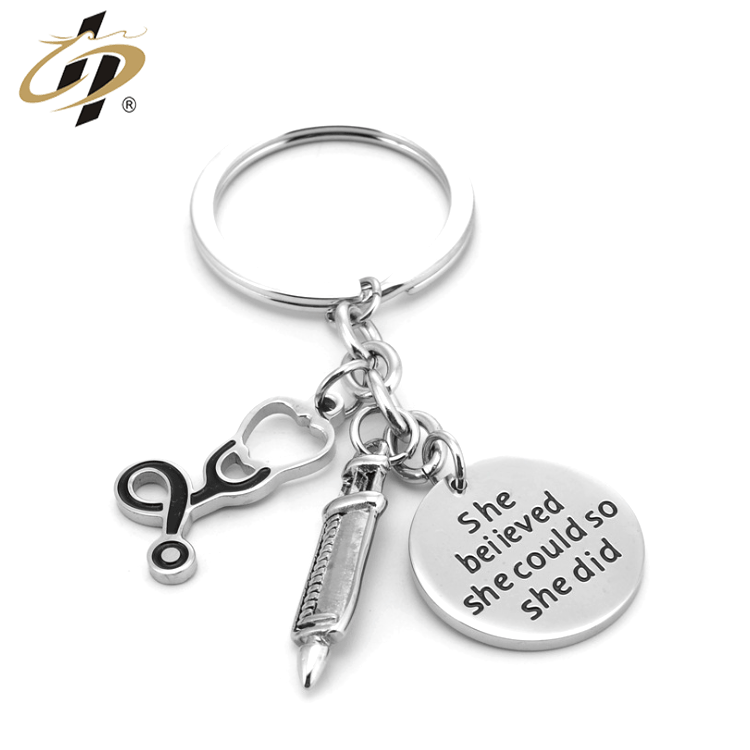 Unmatched stainless steel 3D Promotional custom Small pendant three-piece metal keychains