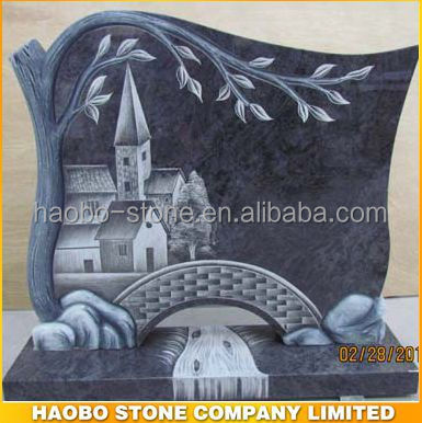 Haobo Stone Bahama Blue Tree Carving Monument Headstone for Cemetery