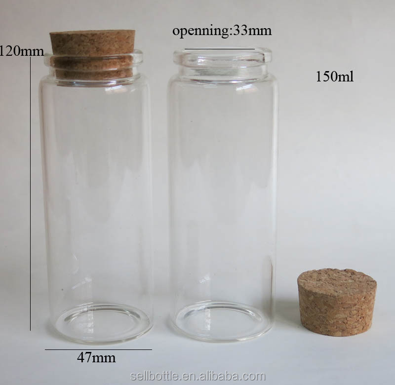 150ml clear glass bottle with wood cork 5 oz