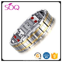 2017 Factory wholesale silver gold plated health magnetic titanium germanium stainless steel bracelets