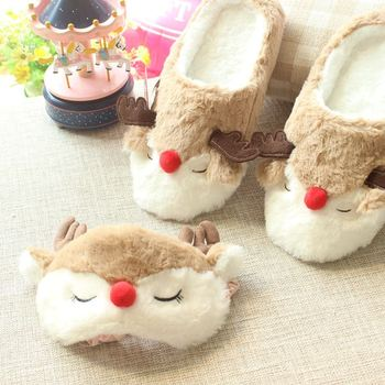 elk deer winter women home slippers for indoor bedroom house soft bottom cotton warm shoes adult
