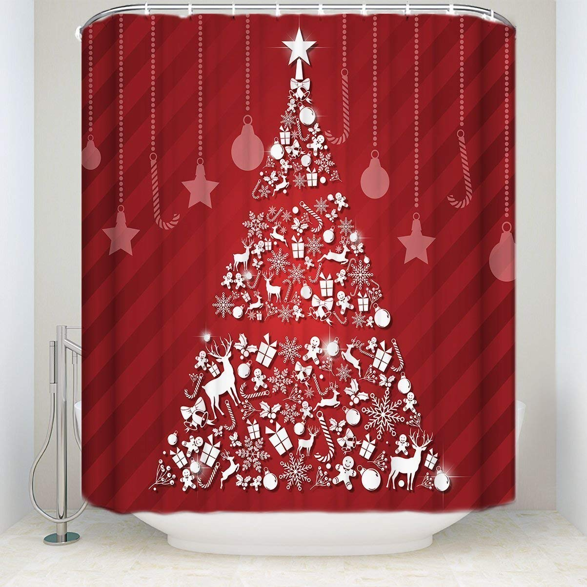 Get Quotations CHARMHOME Designs Christmas Theme Decor Merry Shining Santa Tree Red Background Shower Curtain