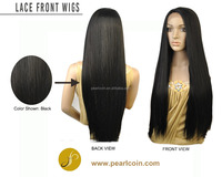 Best Quality Long 1B Off Black Yaki Texture Silky Soft Straight Lace Front Wig