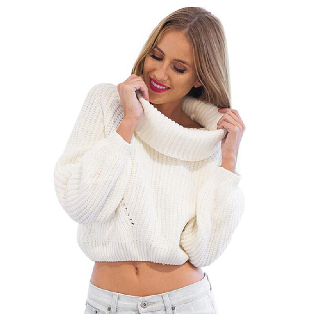 Get Quotations · 2015 Fashion autumn winter turtleneck short pullover  sweaters women Tricot white knitting wool jumpers Pull femme 1057e1b6f